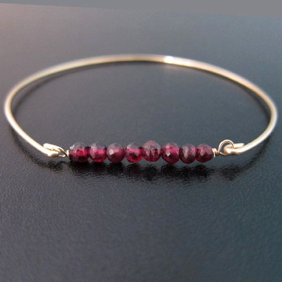 One Size Fits All Garnet Bracelet Womens Simple Cuff Style Jewelry Silver Gemstone