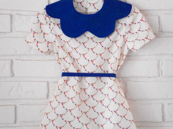 betsy dress royal blue scalloped collar bunting by LittleTicket, $70.00