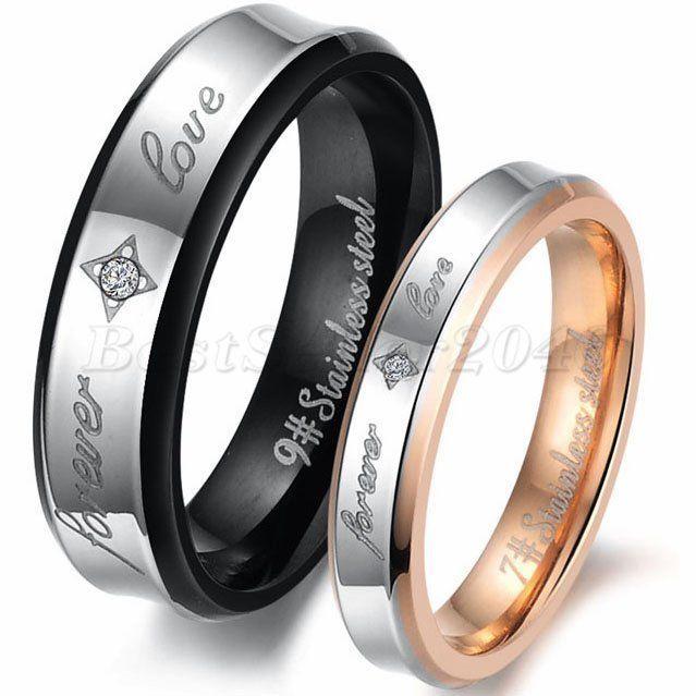 2 Partnerringe Edelstahl Damen Herren Ring forever love