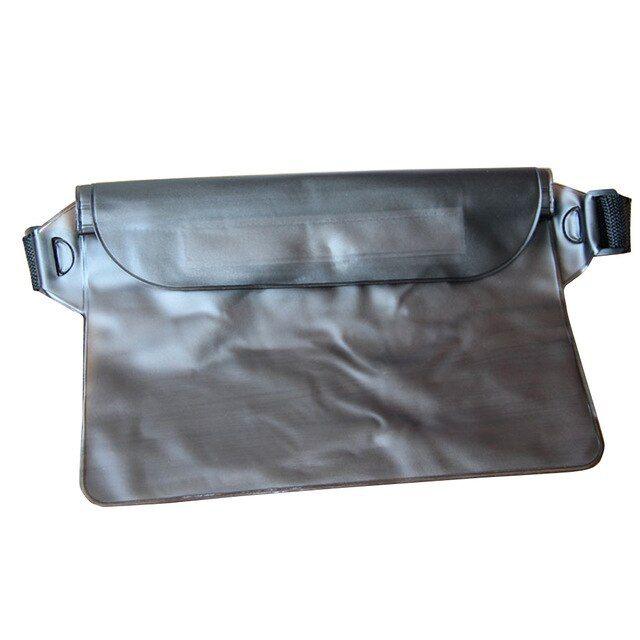 PVC Impermeable Unisex Bolsa de cintura transparente Bolsa de viaje vintage Bolsa móvil Verano Natación Playa Cinturón Bolsa Color Negro