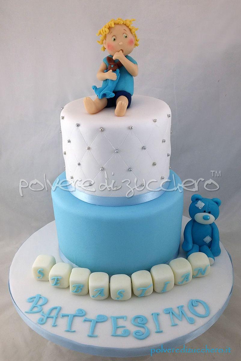 Torta Battesimo bimbo con orsetto e bimbo tridimensionali in pasta di  zucchero Cake baby Baptism teddy bear and baby sugar paste