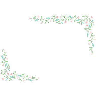 葉と小花シンプル角フレーム飾り枠の無料イラスト フレーム 無料