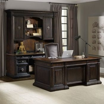 Executive Desk With Bonded Leather Inlay Home Office Design Furniture Home Office Decor
