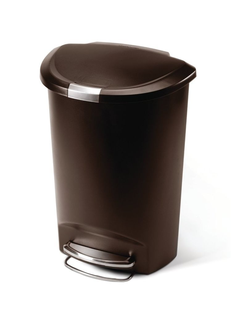 Semi Round Kitchen Trash Garbage Can Container Bin Mocha Locking Lid