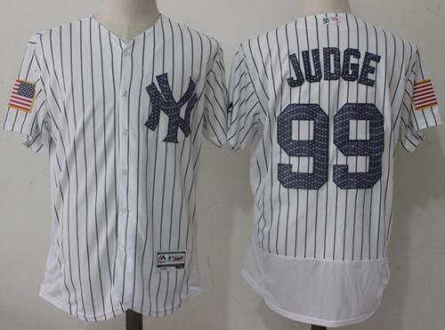 143d3b63f23 Yankees #99 Aaron Judge White Strip Fashion Stars & Stripes Flexbase  Authentic Stitched MLB Jersey
