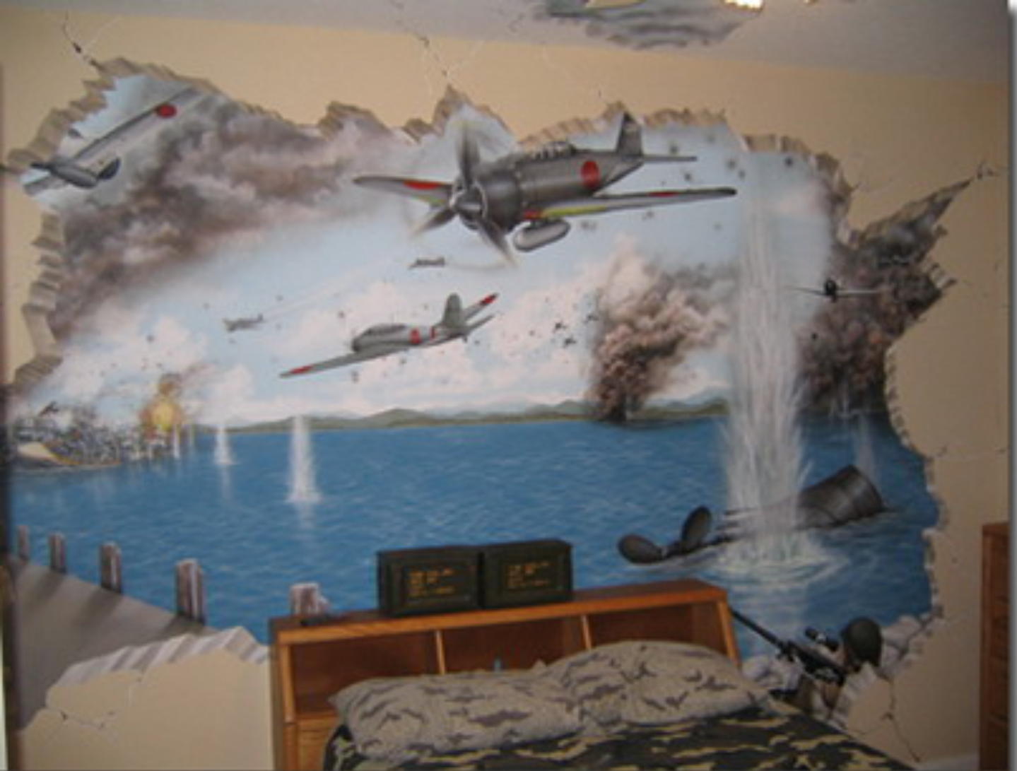 aviation wall mural of a dogfight looks like it s world war 1 era aviation wall mural of a dogfight looks like it s world war 1 era and i love how it looks like its breaking through the wall