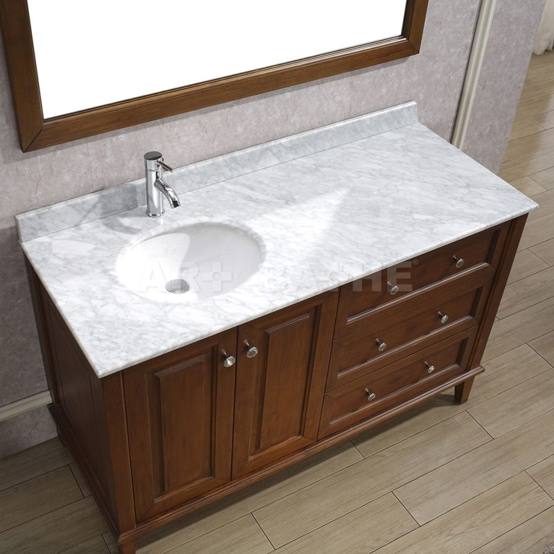 Offset Bathroom Vanity Tops | Lily 55 , Classic Cherry , Natural Carrera