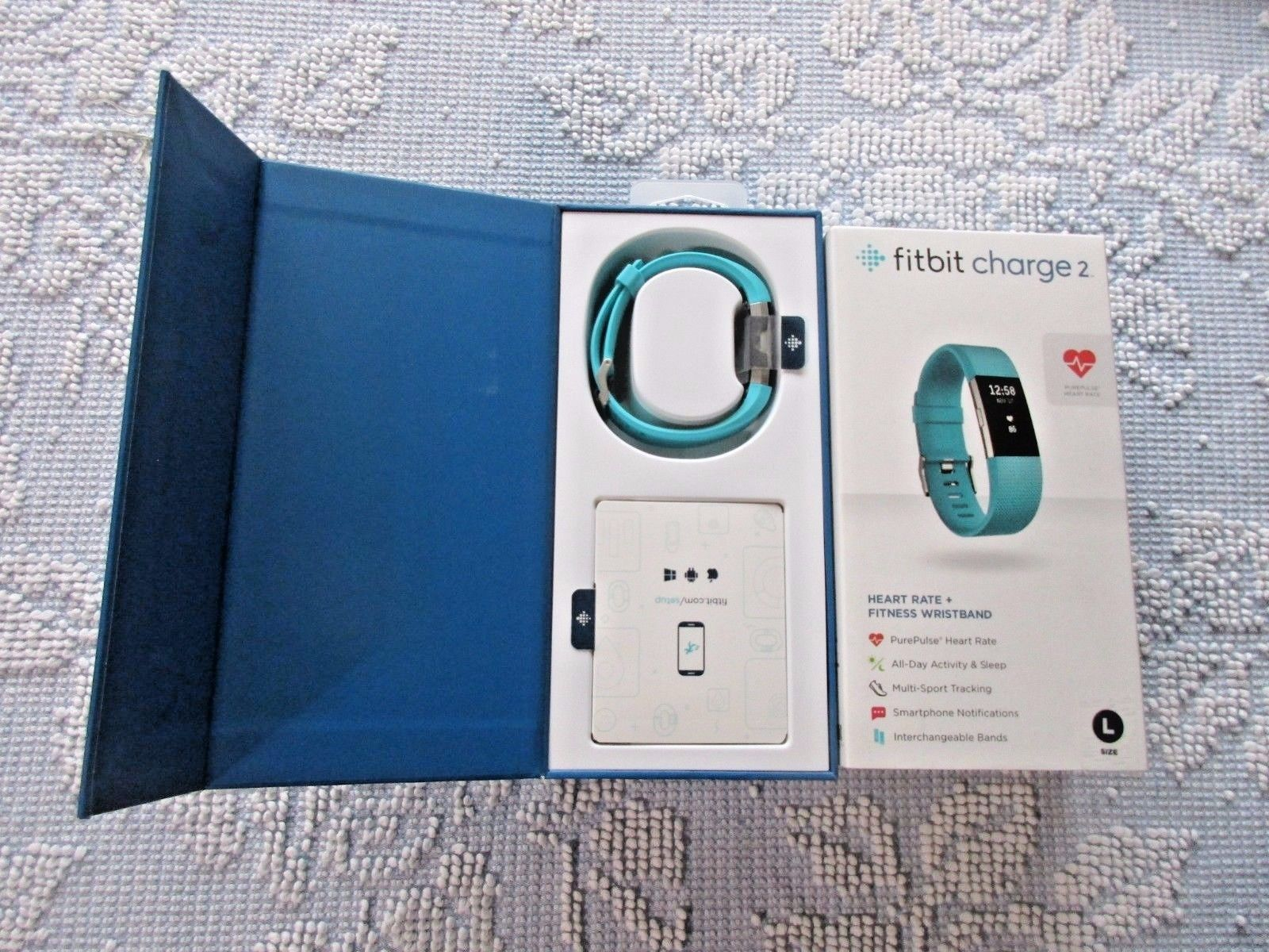 TEAL LARGE FB407STEL NEW FITBIT CHARGE 2 WIRELESS ACTIVITY TRACKER ...
