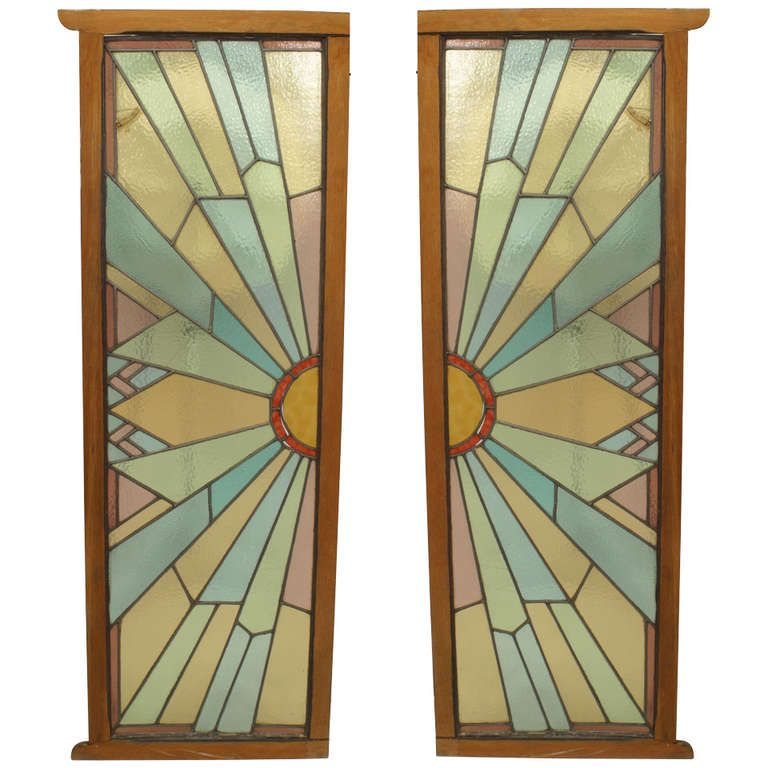 Pair Of French Art Deco Stained Glass Doors Art Deco Deco En