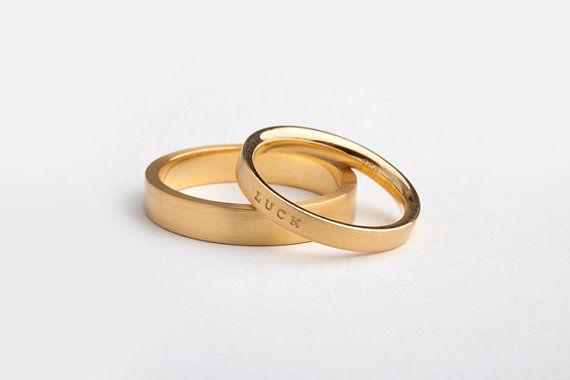 Personalized Thin Engraved Wedding Band Minimal Flat Ring