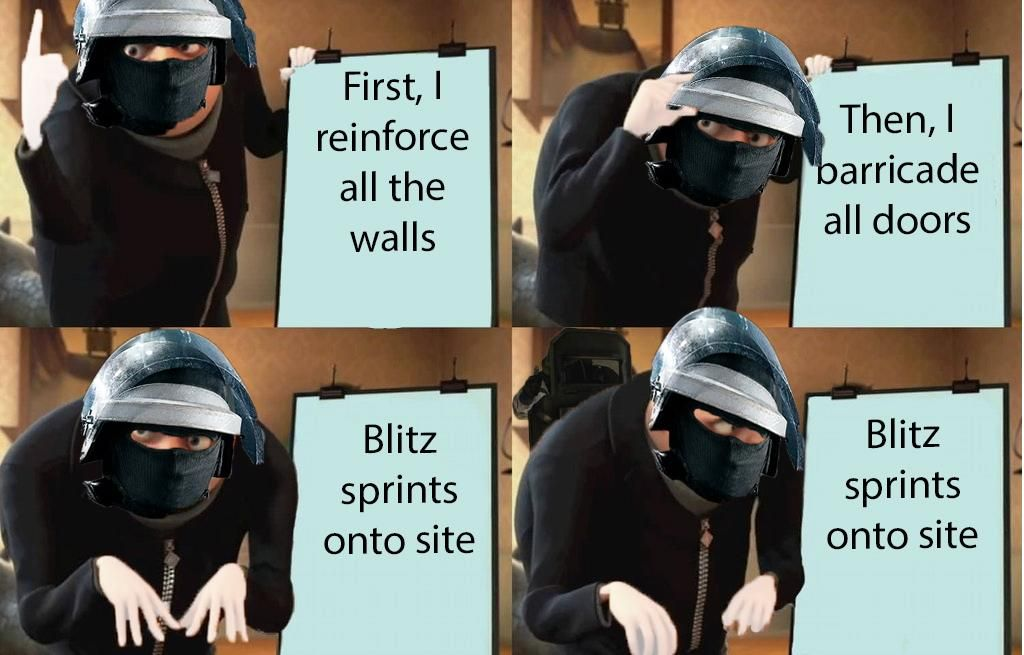 Gru Meets Demon Blitz With Images Rainbow Six Siege Memes