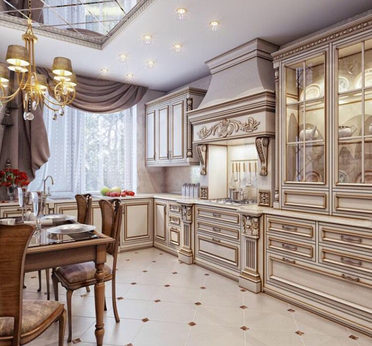 Nice lit breakfront style cabinet | Luxury kitchens ...