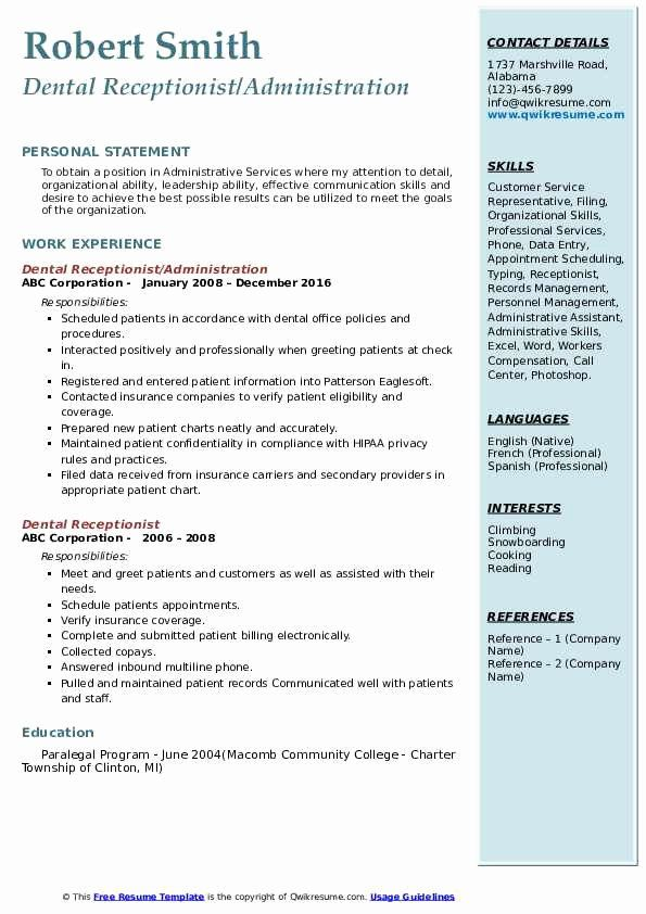 20 dental receptionist job description resume