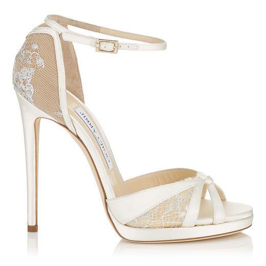 461cf6069d54 JIMMY CHOO TALIA 120 Ivory Satin and White Lace Sandals.  jimmychoo  shoes   s