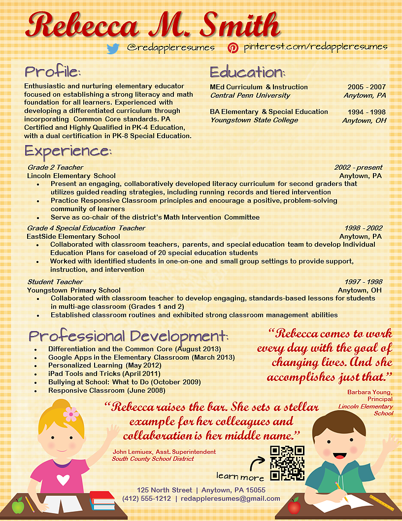 Teachers Resume Template Teacher Resume Template  Resume & Teacher Portfolio  Pinterest