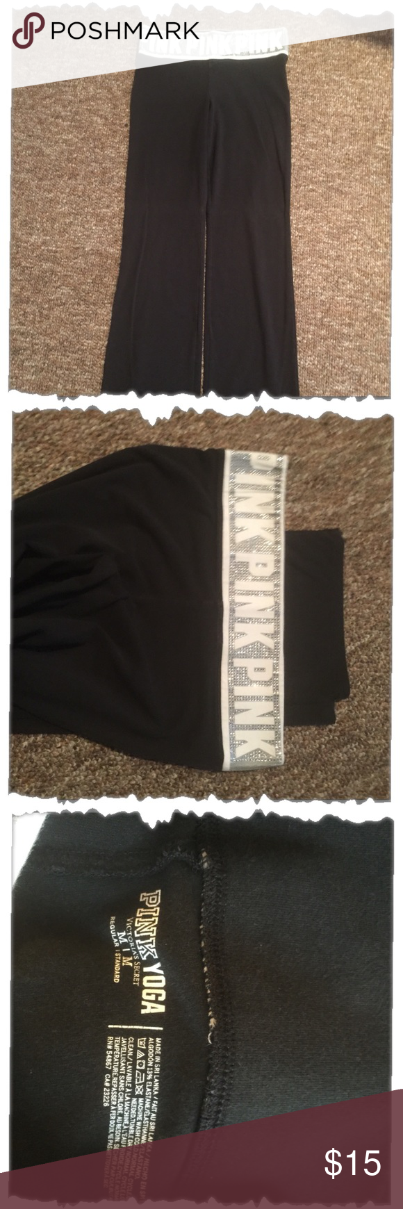 Victoria Secret boot leg yoga pants Nice pair of yoga pants, size is medium. The band is white with silver bling. The length is medium! Victoria's Secret Pants Boot Cut & Flare
