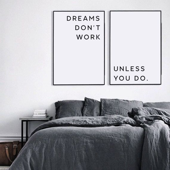 Inspirierende Zitate, Inspiration Wandkunst, motivierende Wanddekoration, Hauptschlafzimmer, inspirierende Print, Träume funktionieren nur, wenn Sie es tun