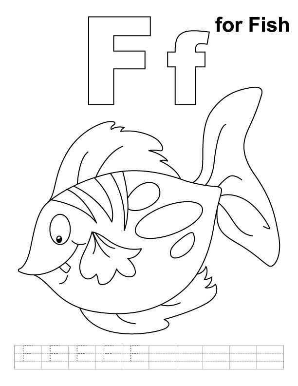 F For Fish Coloring Page With Handwriting Practice Abc Coloring