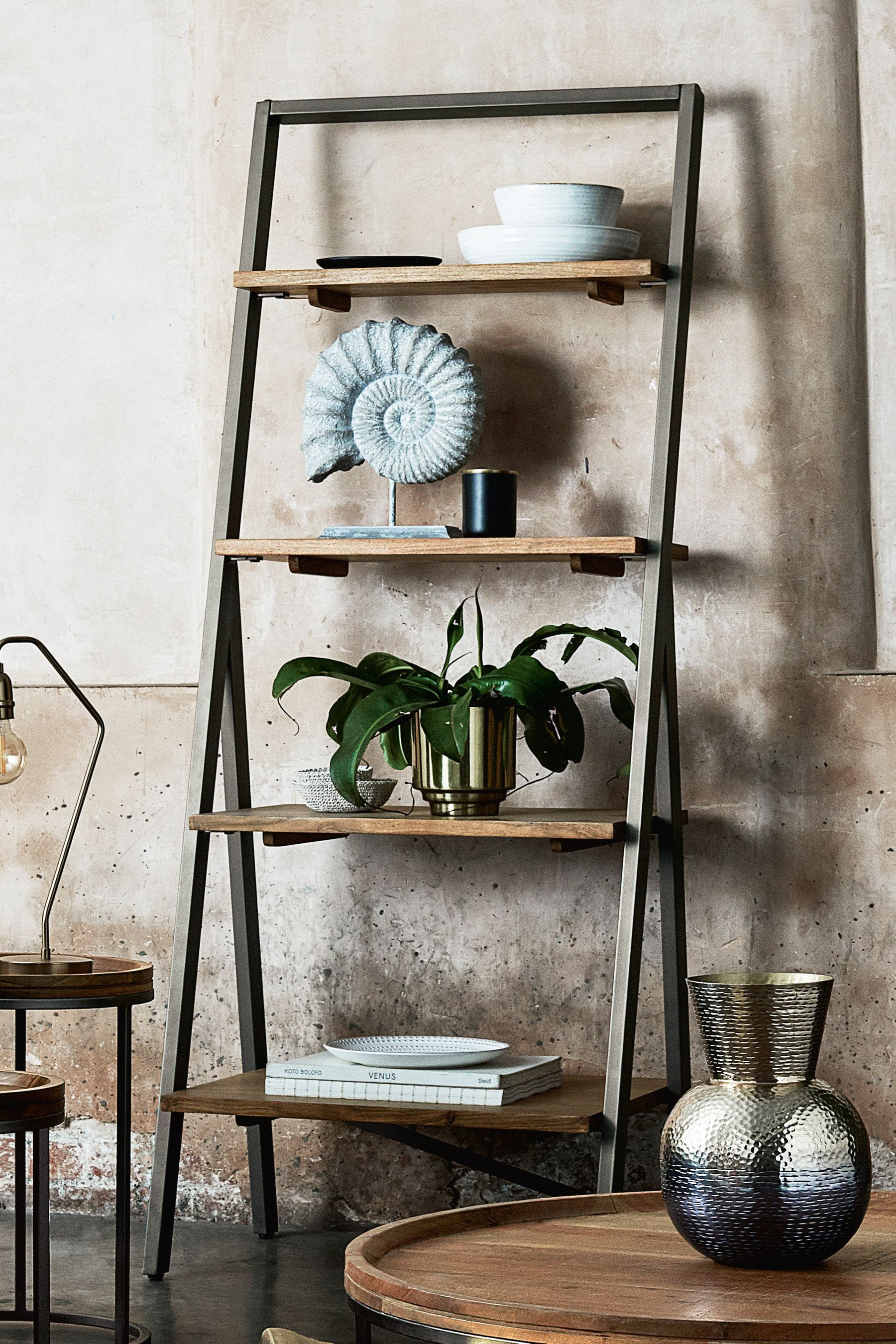 Next Amsterdam Ladder Shelf Natural Shelves Bookcase Shelves Solid Wood Furniture