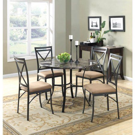 Mainstays 5 Piece Faux Marble Top Dining Set Black Dining Table