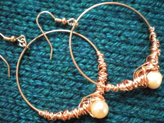 Peach Pearl and Copper Wrapped Earrings by CJsSparkles on Etsy, $17.00