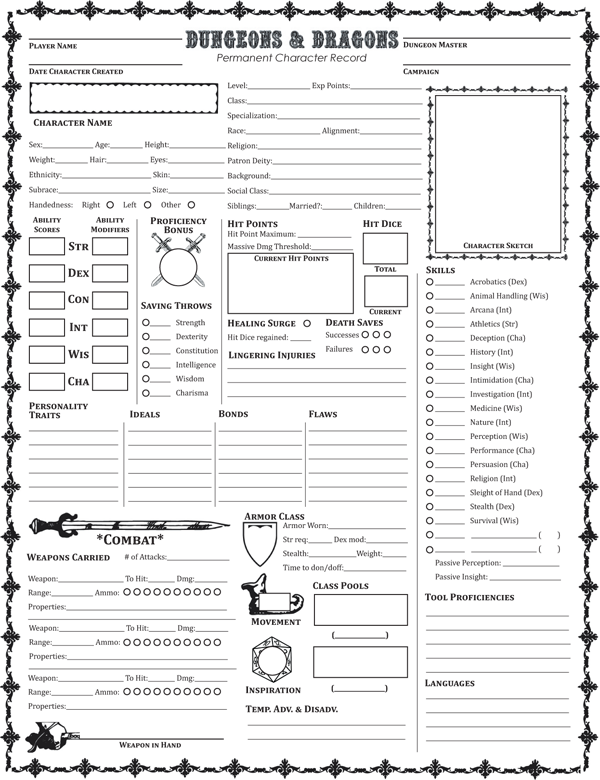 fifth edition dungeons dragons permanent character folder