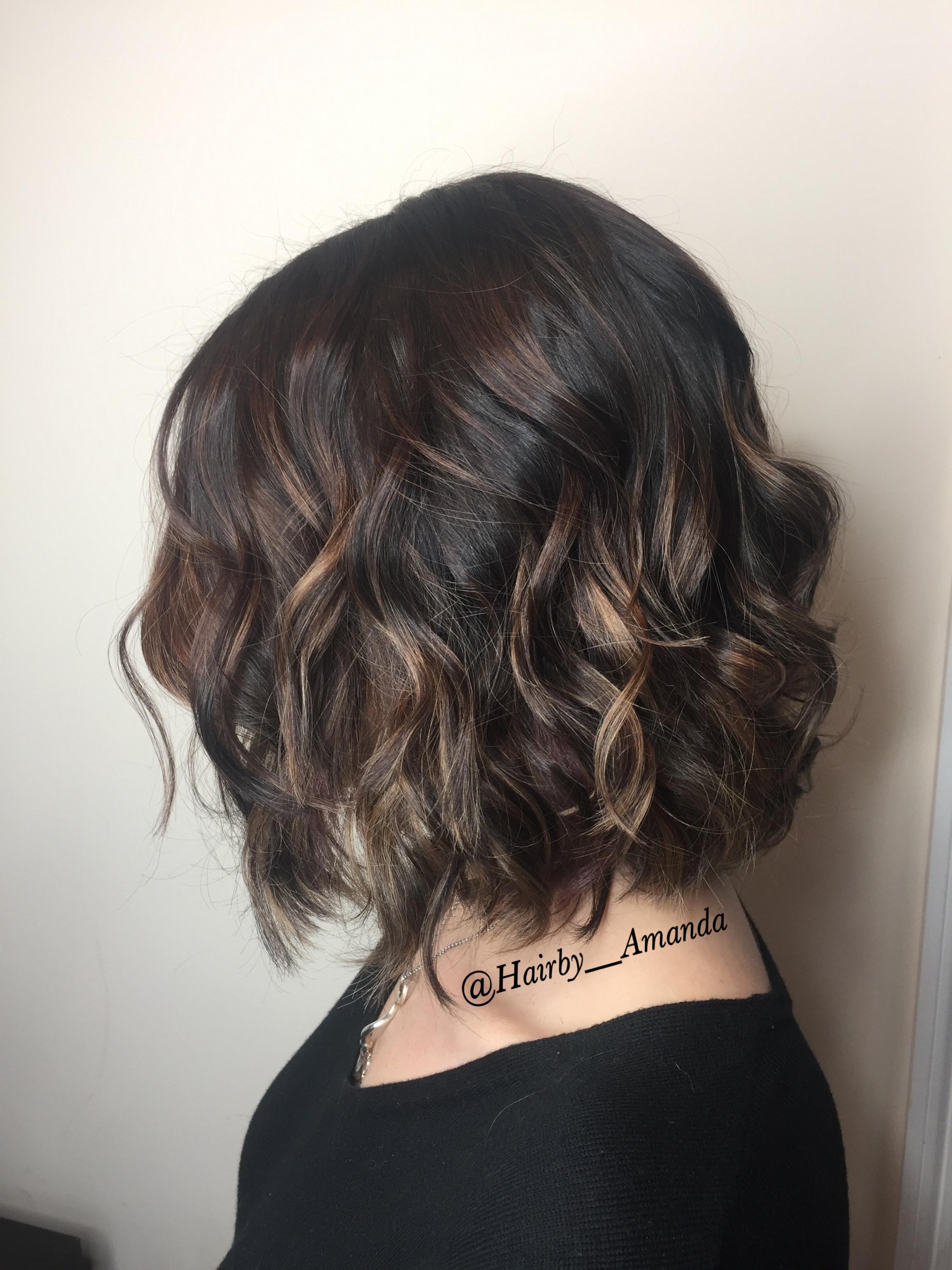 Short rich brunette subtle balayage hair color balayagehaircolor