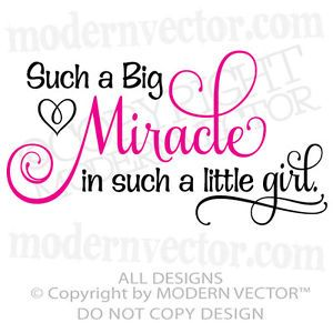 Big Miracle In A Little Girl Quote Vinyl Wall Decal Word Lettering