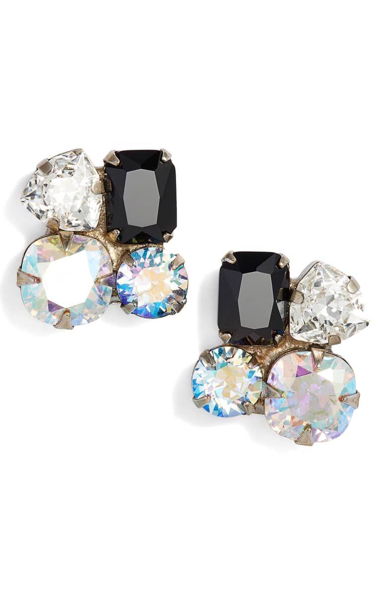 f1d886418 Crystal Cluster Stud Earrings, Main, color, BLACK/ CLEAR | Nordstrom ...