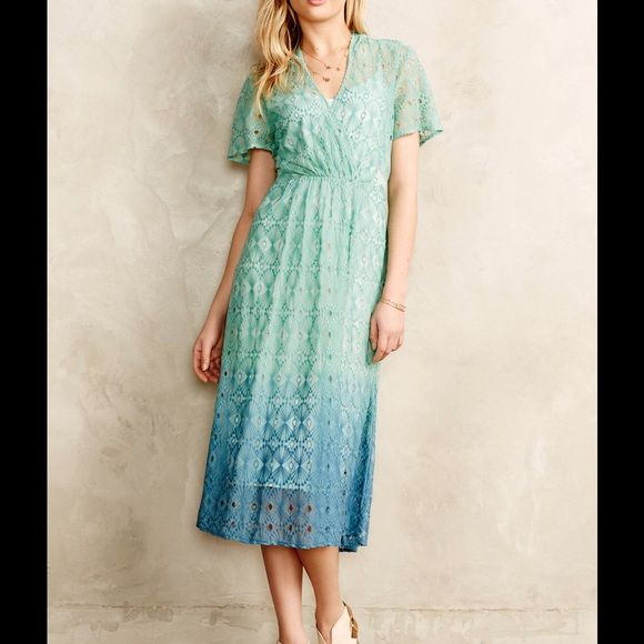 Beautiful Blue Anthropologie Lace Dress Beautiful Blue Ombré Anthropologie Dress. Perfect condition! Anthropologie Dresses