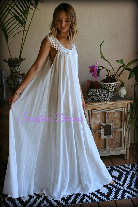 7a3913659 Cotton Nightgown Off White Cotton Sleepwear Honeymoon Cotton Lingerie  Bridal Lingerie Venice Lace N