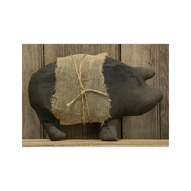 Primitive Stuffed Pig with Cheesecloth & Jute Twine