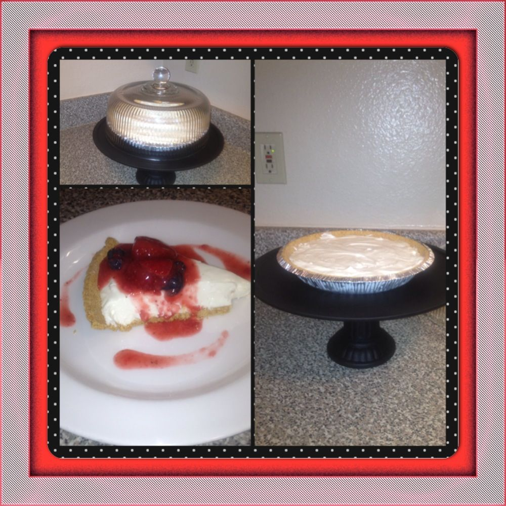 Low Fat Cheesecake, No-bake - Only 6 Points Total on WW....plus I displayed it on my DIY Cake Plate!!!