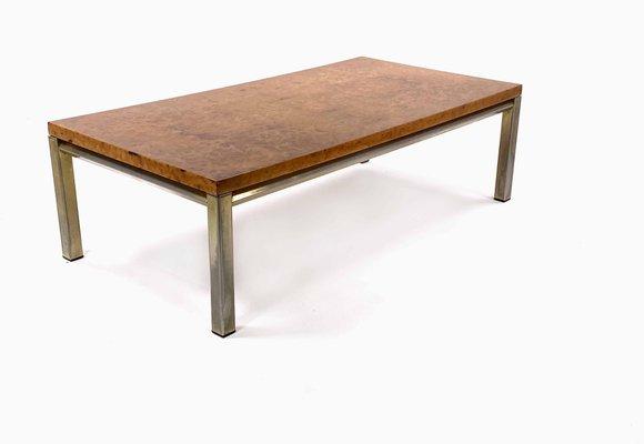 Coffee Table With Burl Elm Top And Gilt Metal Structure France 1970s In 2020 Coffee Table Metal Structure Gilt