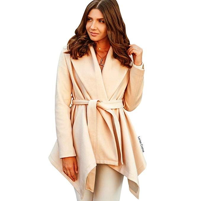 4cbad06a2a7 Chicwish Women s Turn Down Shawl Collar Open Front Long Sleeve Cream  Asymmetric Hemline Wool Blend Coat