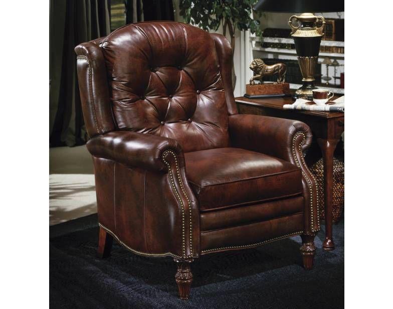 Victoria High Leg Reclining Lounger W/Brass Nails | Bradington Young | Star  Furniture |
