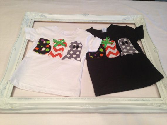 BOO Applique Halloween Tee by HLNBoutique on Etsy, $15.00