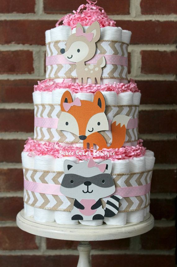 Woodland Baby Shower Diaper cake three styles available  IT IS A HOOT other colors too