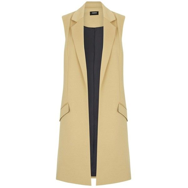 Oasis Sophia Sleeveless Jacket , Mid Neutral (4.055 RUB) via Polyvore featuring outerwear, jackets, mid neutral, shiny jacket, collar jacket, draped collar jacket, drape jacket и light weight jacket