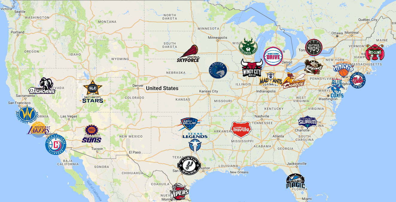 Map of NBA G League Teams | Sports logo, Team logo, Map