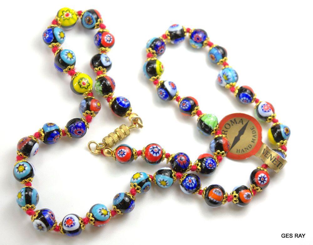 Antique Rare Venetian Murano Millefiori Art Glass Bead Necklace 20 43 Beads Art Deco Jewelry Glass Jewelry Jewelry Art