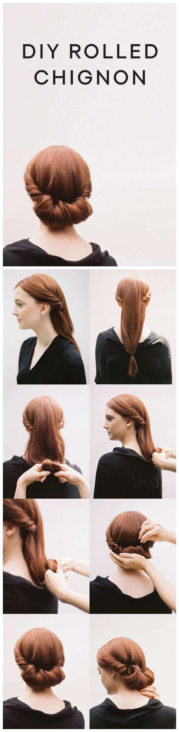 DIY ROLLED CHIGNON HAIR TUTORIAL