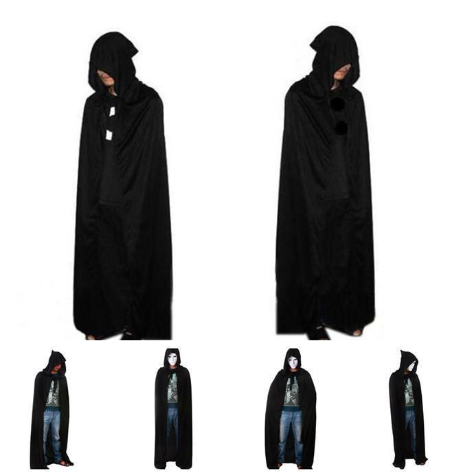Unisex Men Women Hooded Cape Long Cloak Black Halloween Costume Dress Coat US