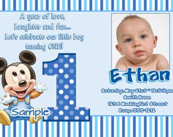 Baby Mickey Mouse First Birthday Outfit Set 12 M 18 M Birthday Invitation Card Template First Birthday Invitation Cards Boy Birthday Invitations