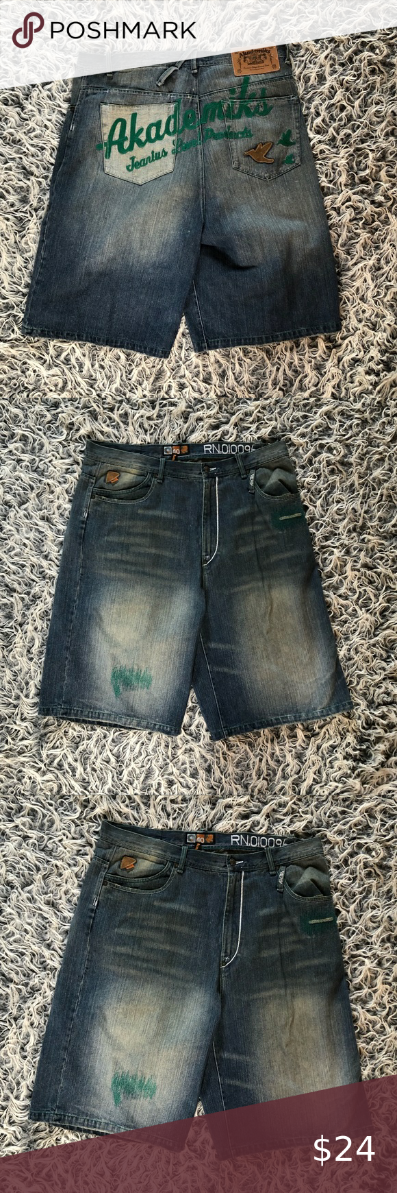Men's Akademiks Denim jean Shorts - Size 40 Men's Akademiks Denim jean Shorts - Size 40 Akademiks Shorts Jean Shorts