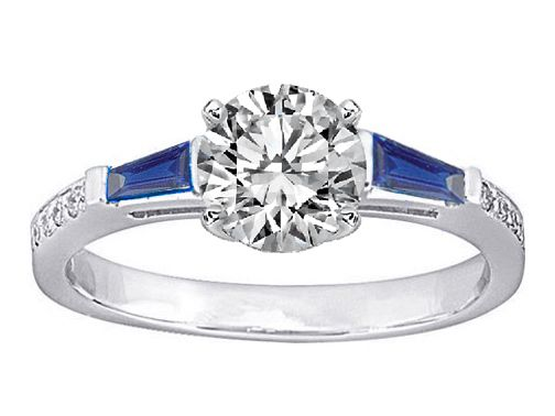 Engagement Ring -Blue Sapphire Baguettes and Diamo
