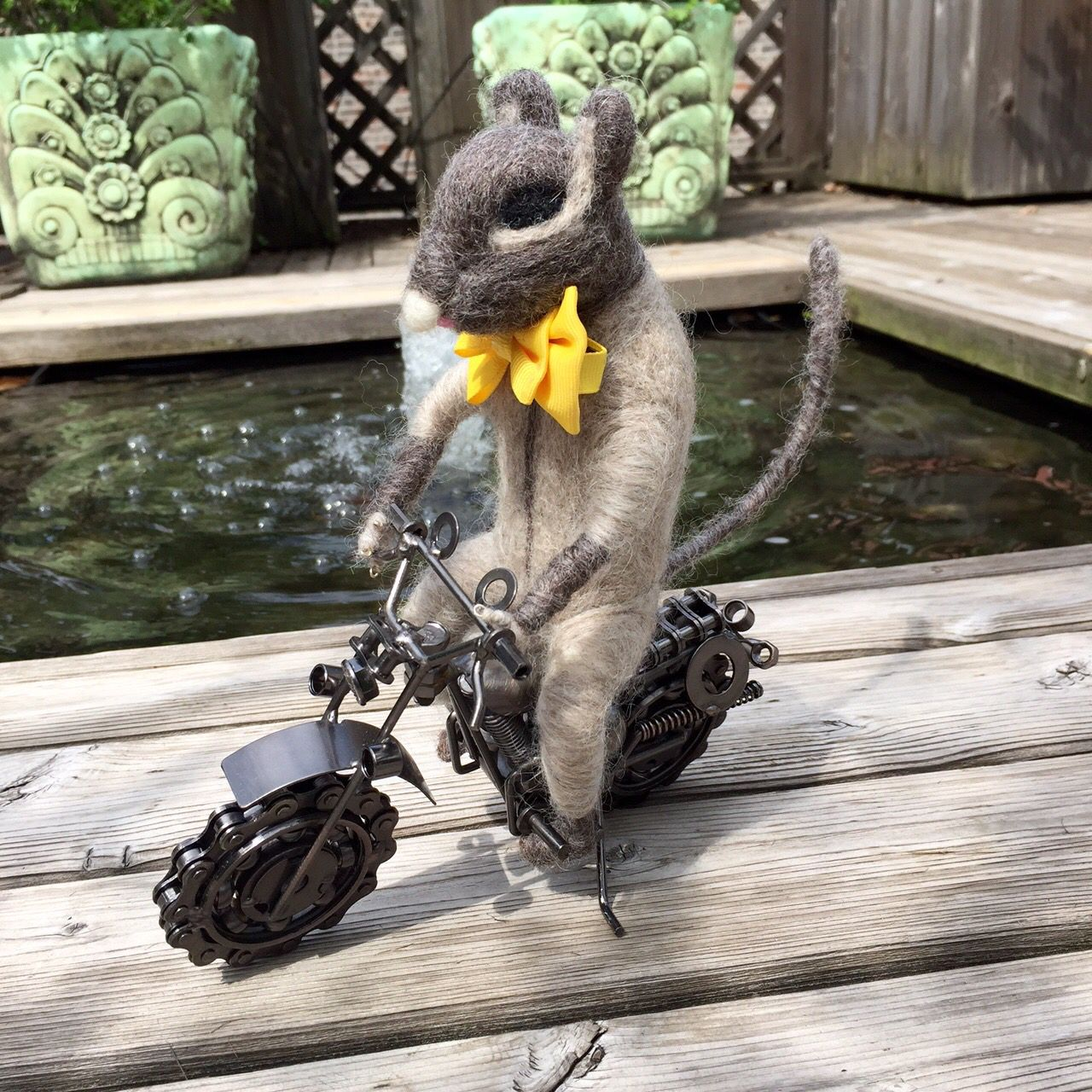 Felted squirrel on motorcycle inquisitive creatures pinterest