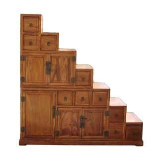 Chinese Rosewood Anese Step Tansu Cabinet