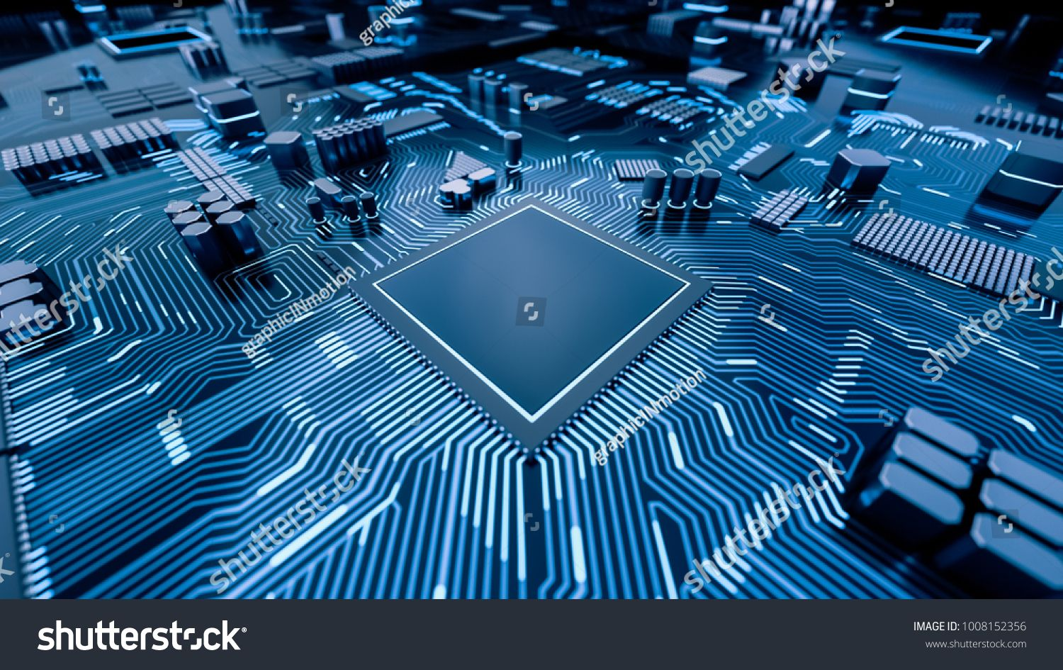 Cpu Chip On Motherboard Abstract 3d Render Of A Computer Processor Chip On A Circuit Board With Microchips An Computer Processors Computer Cpu City Wallpaper