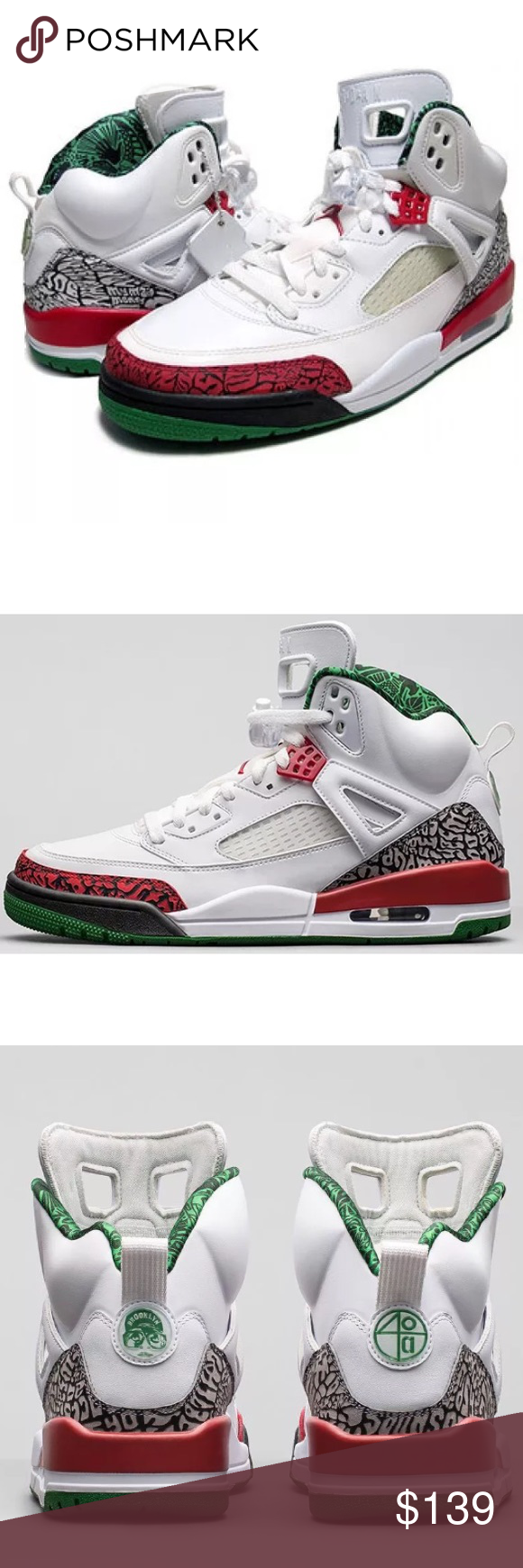 NWOT Nike Air Jordan Spizike White Red Green (With images